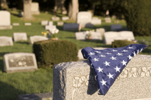 flag on gravestone