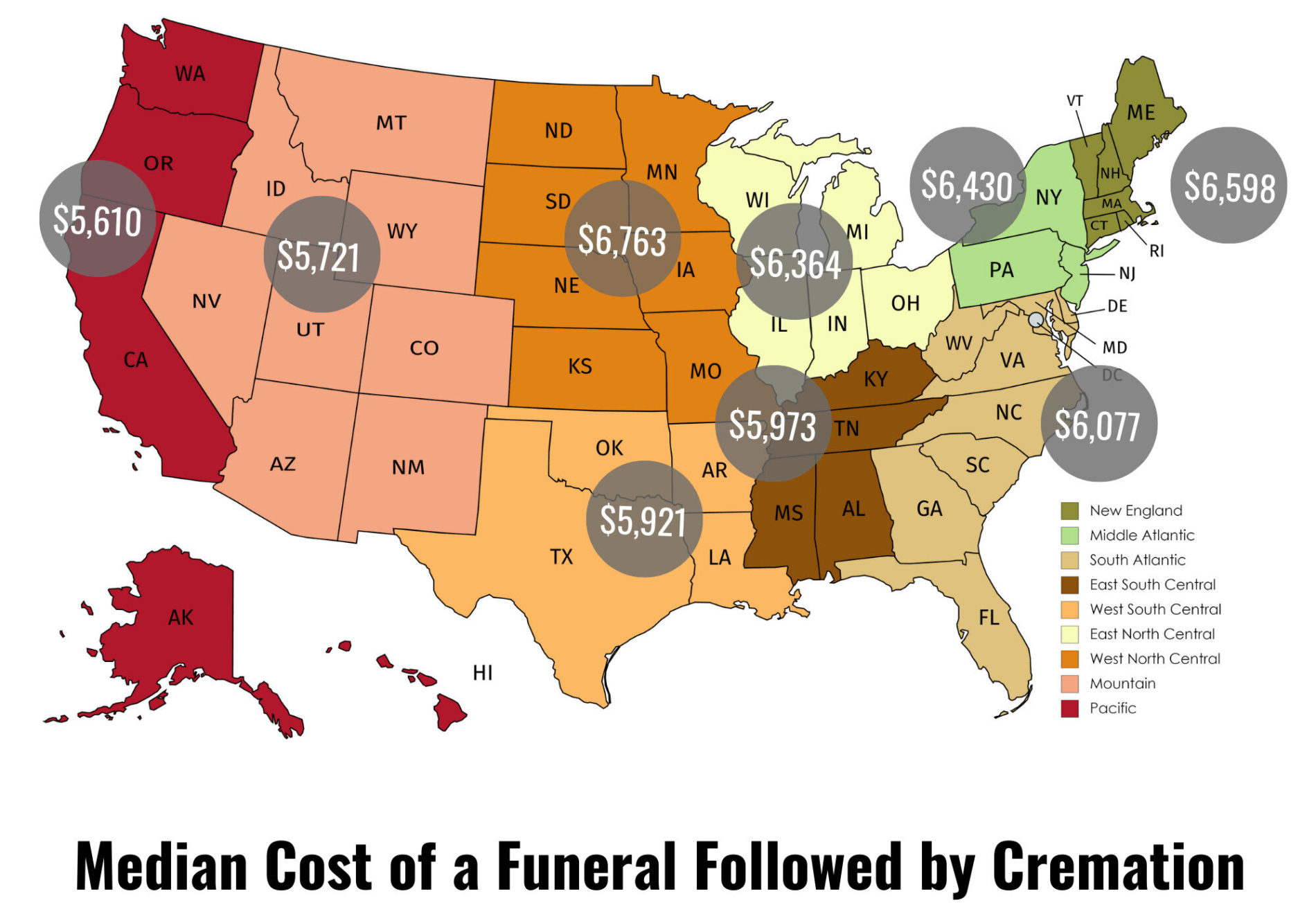 Median cost of a funeral with cremation in different parts of US.